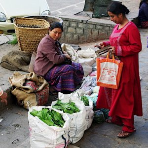 Bhutan - selling vegetables on the street in Thimphu
