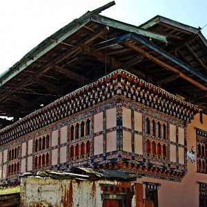 Traditional house in Lobesa village near Chimi Lhakhang, Bhutan