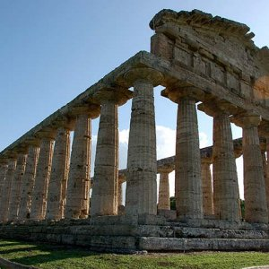 Greek Temple ruins in the town of Paestum, Italy.